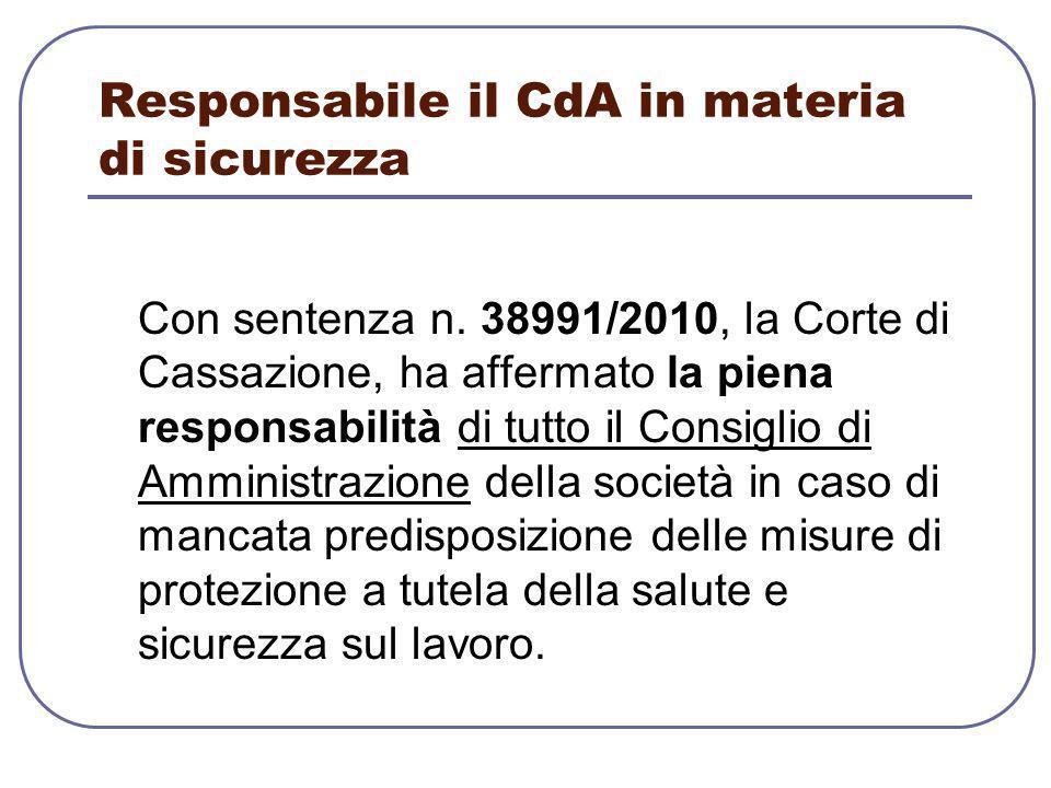 Responsabile il CdA in materia di sicurezza