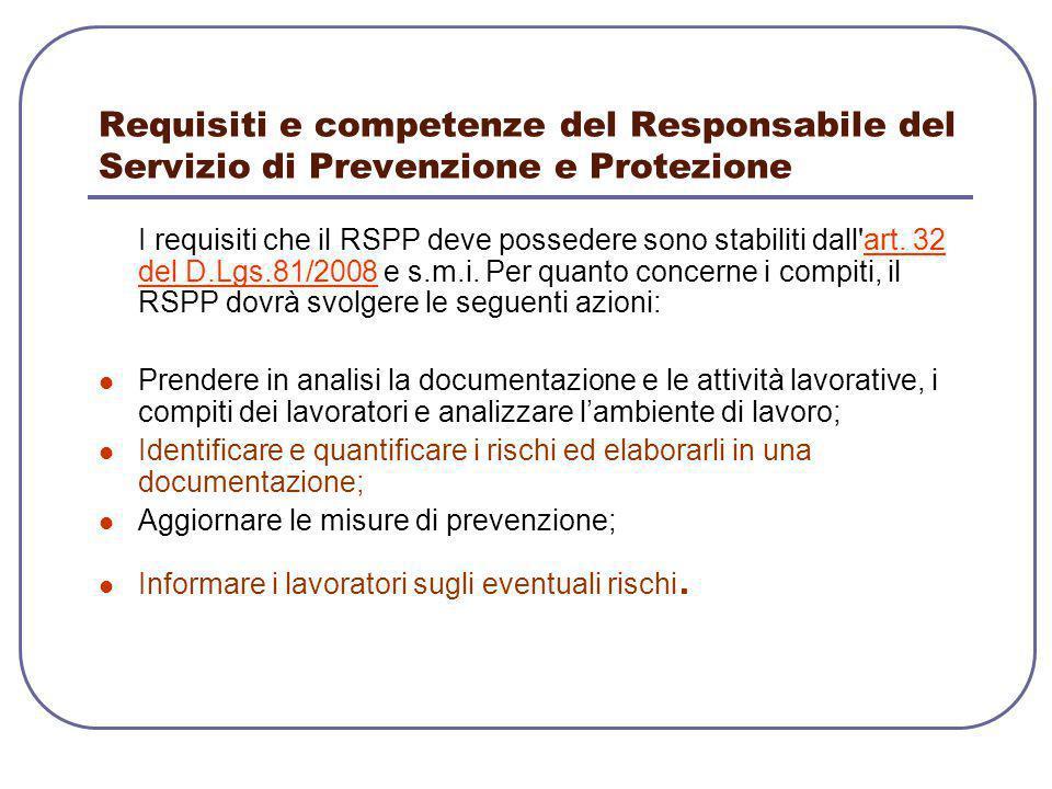 Requisiti e competenze del Responsabile del Servizio di Prevenzione e Protezione