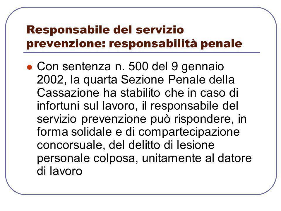 Responsabile del servizio prevenzione: responsabilità penale
