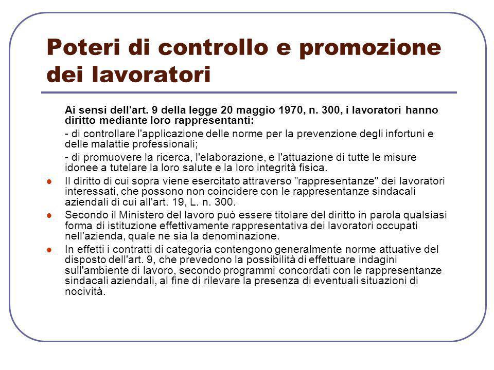 Poteri di controllo e promozione dei lavoratori