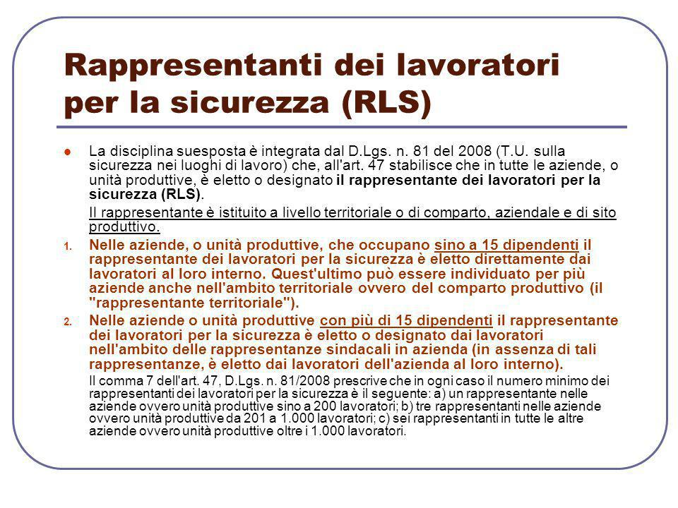 Rappresentanti dei lavoratori per la sicurezza (RLS)