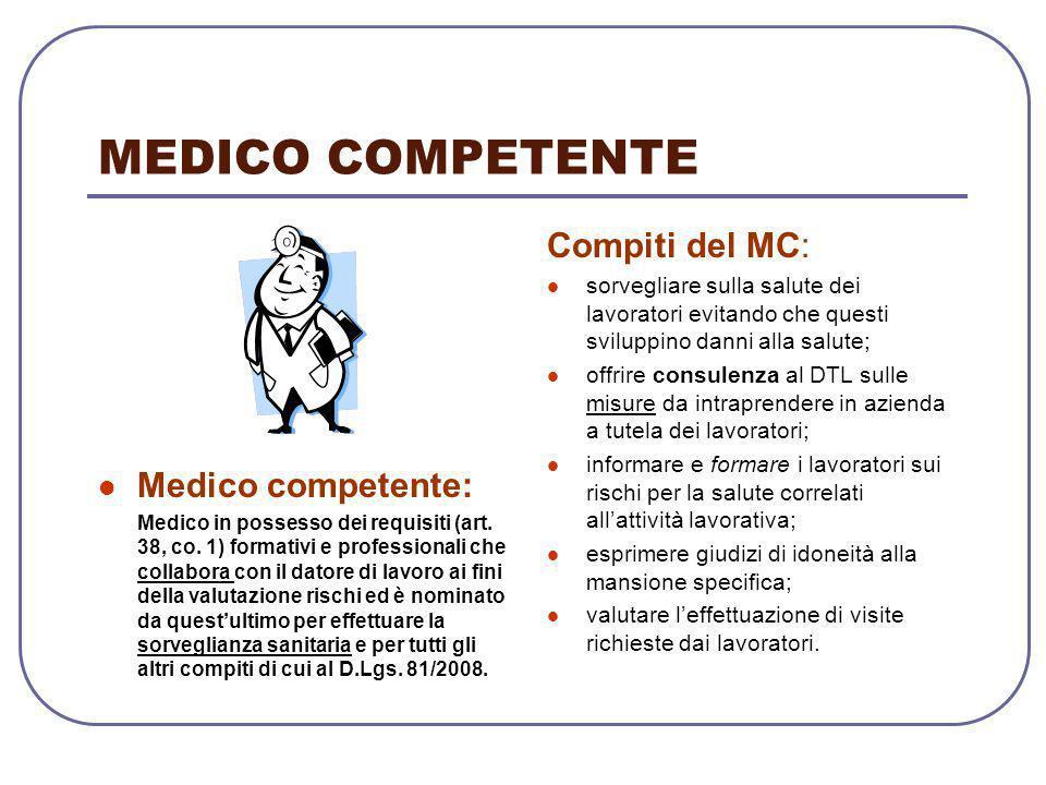MEDICO COMPETENTE Compiti del MC: Medico competente: