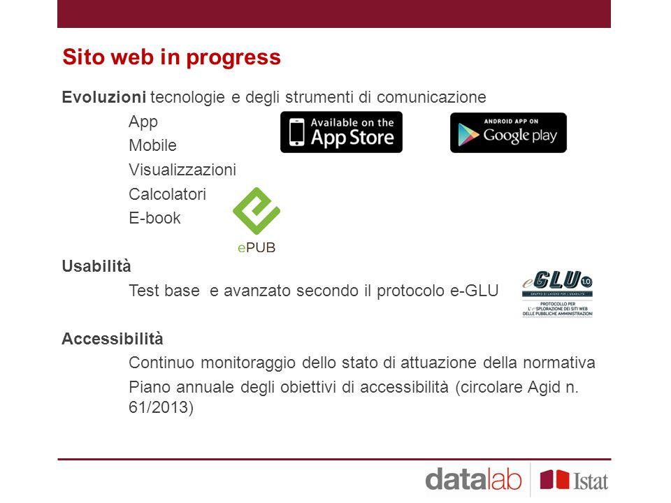Sito web in progress Evoluzioni tecnologie e degli strumenti di comunicazione. App. Mobile. Visualizzazioni.