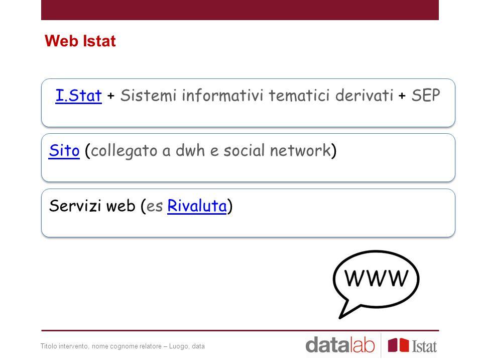 I.Stat + Sistemi informativi tematici derivati + SEP