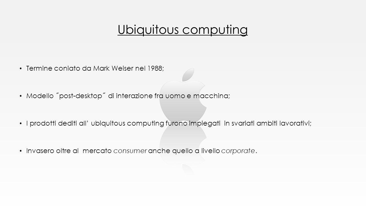 Ubiquitous computing Termine coniato da Mark Weiser nel 1988;