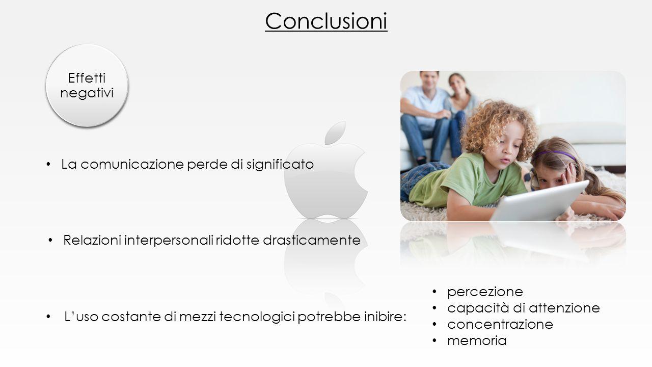 Conclusioni Effetti negativi La comunicazione perde di significato