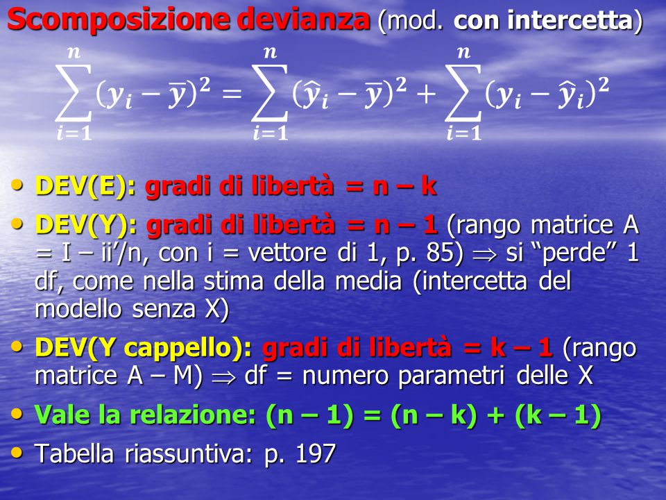 Scomposizione devianza (mod. con intercetta)