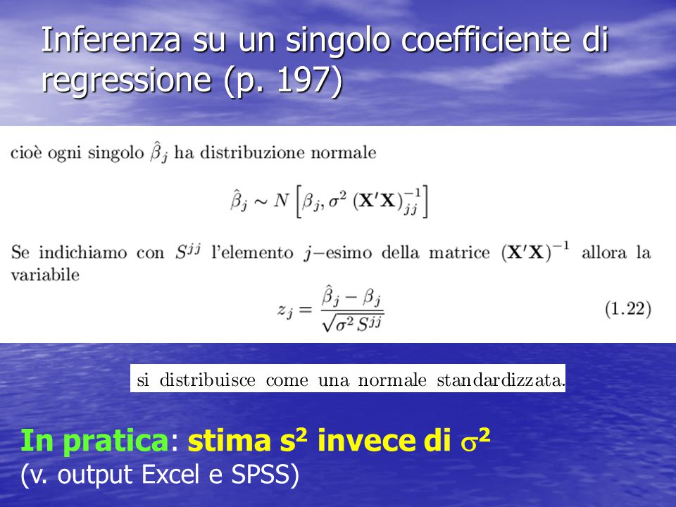 Inferenza su un singolo coefficiente di regressione (p. 197)