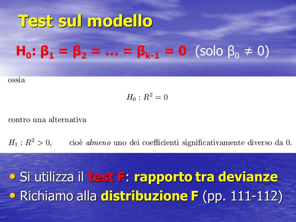 Test sul modello H0: β1 = β2 = … = βk-1 = 0 (solo β0 ≠ 0)