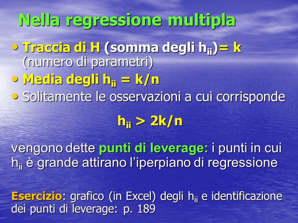 Nella regressione multipla