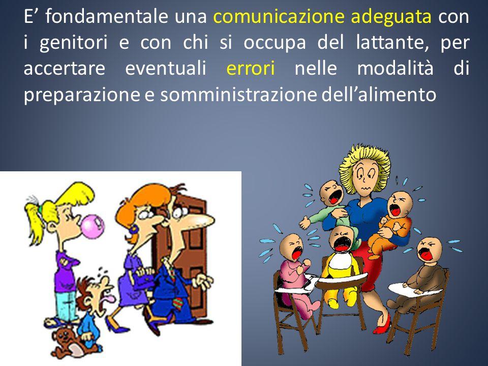 E' fondamentale una comunicazione adeguata con i genitori e con chi si occupa del lattante, per accertare eventuali errori nelle modalità di preparazione e somministrazione dell'alimento