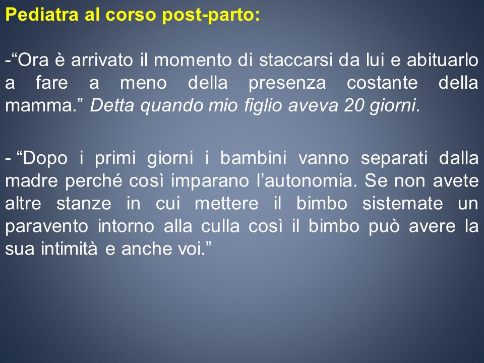 Pediatra al corso post-parto: