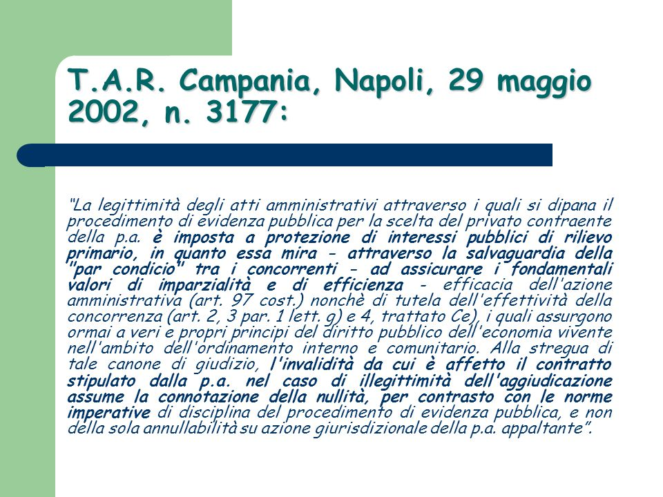 T.A.R. Campania, Napoli, 29 maggio 2002, n. 3177: