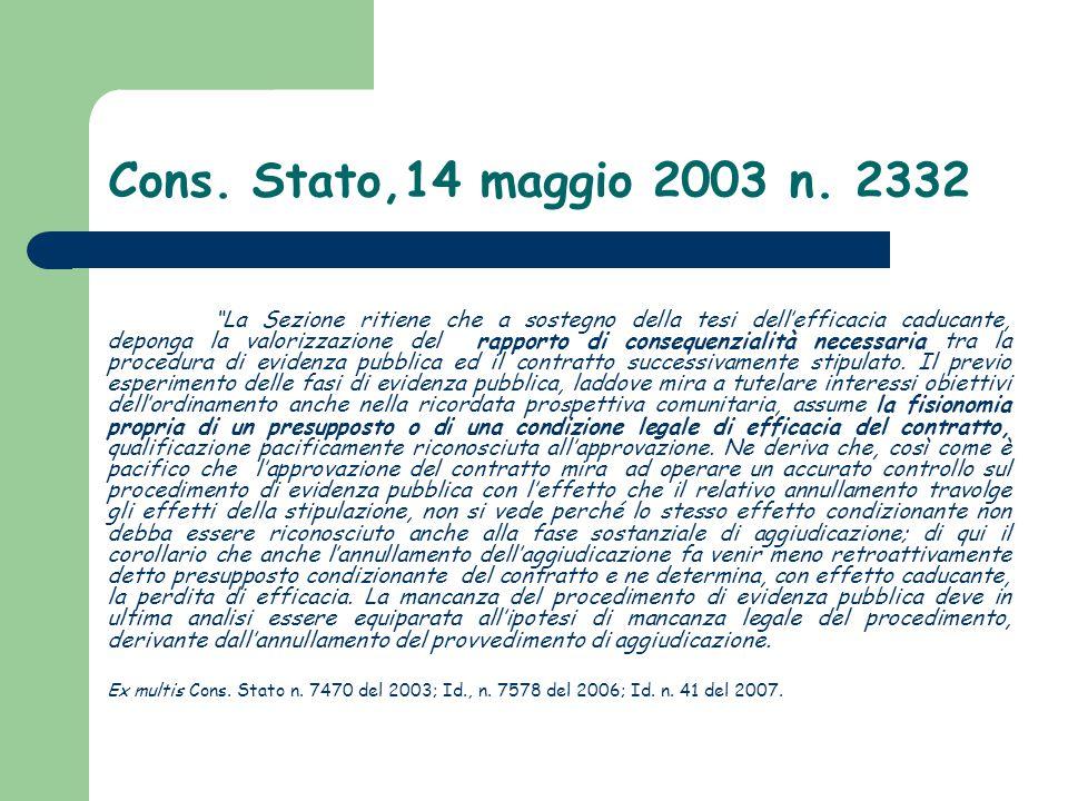 Cons. Stato,14 maggio 2003 n. 2332