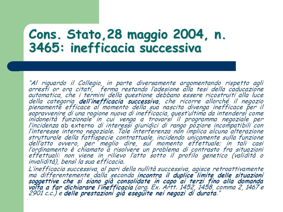 Cons. Stato,28 maggio 2004, n. 3465: inefficacia successiva