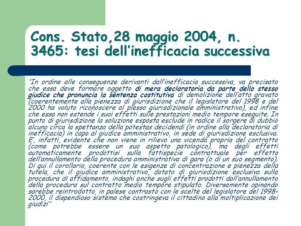 Cons. Stato,28 maggio 2004, n. 3465: tesi dell'inefficacia successiva