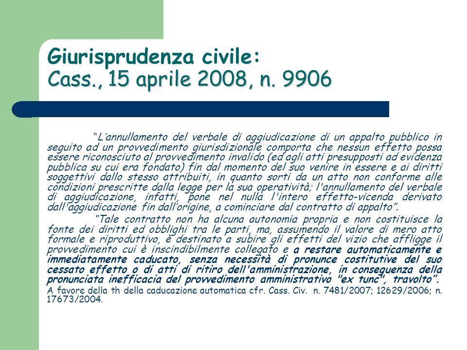 Giurisprudenza civile: Cass., 15 aprile 2008, n. 9906