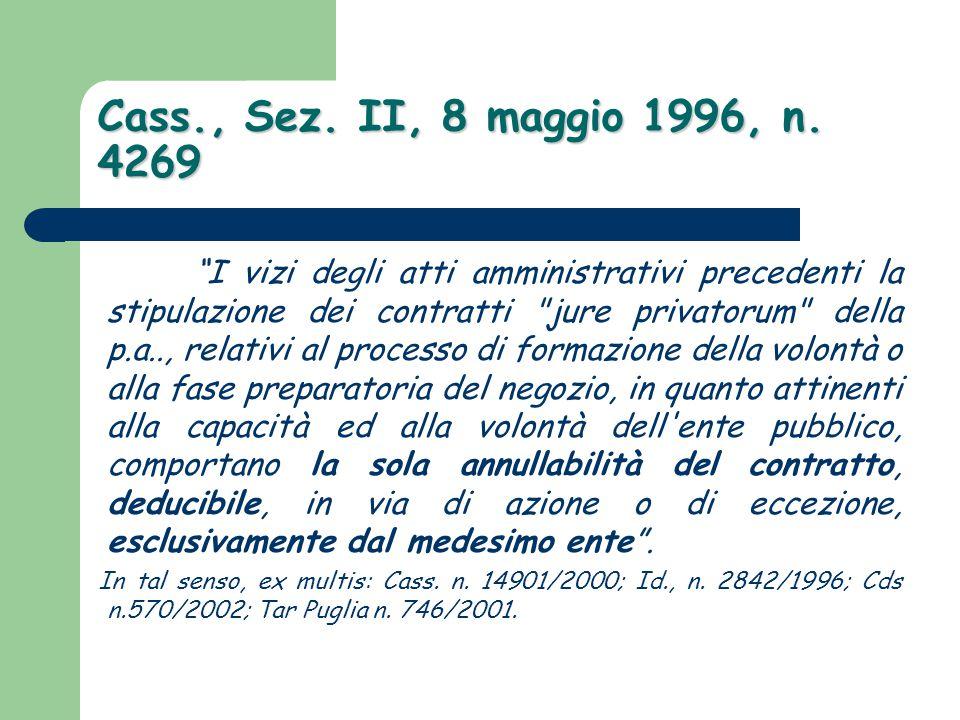 Cass., Sez. II, 8 maggio 1996, n. 4269