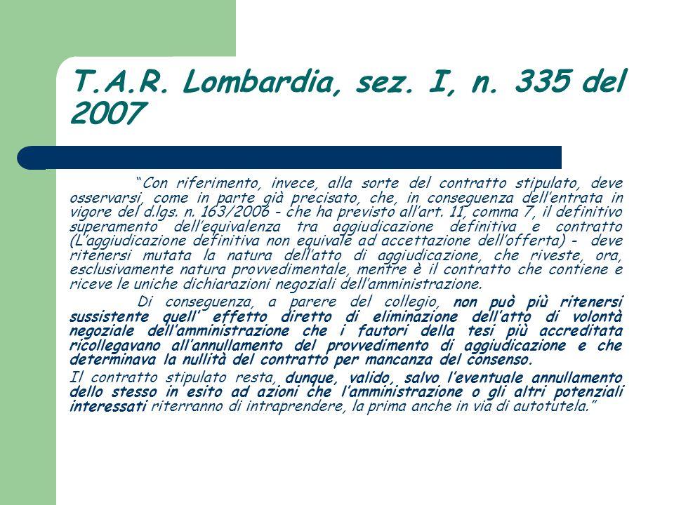T.A.R. Lombardia, sez. I, n. 335 del 2007