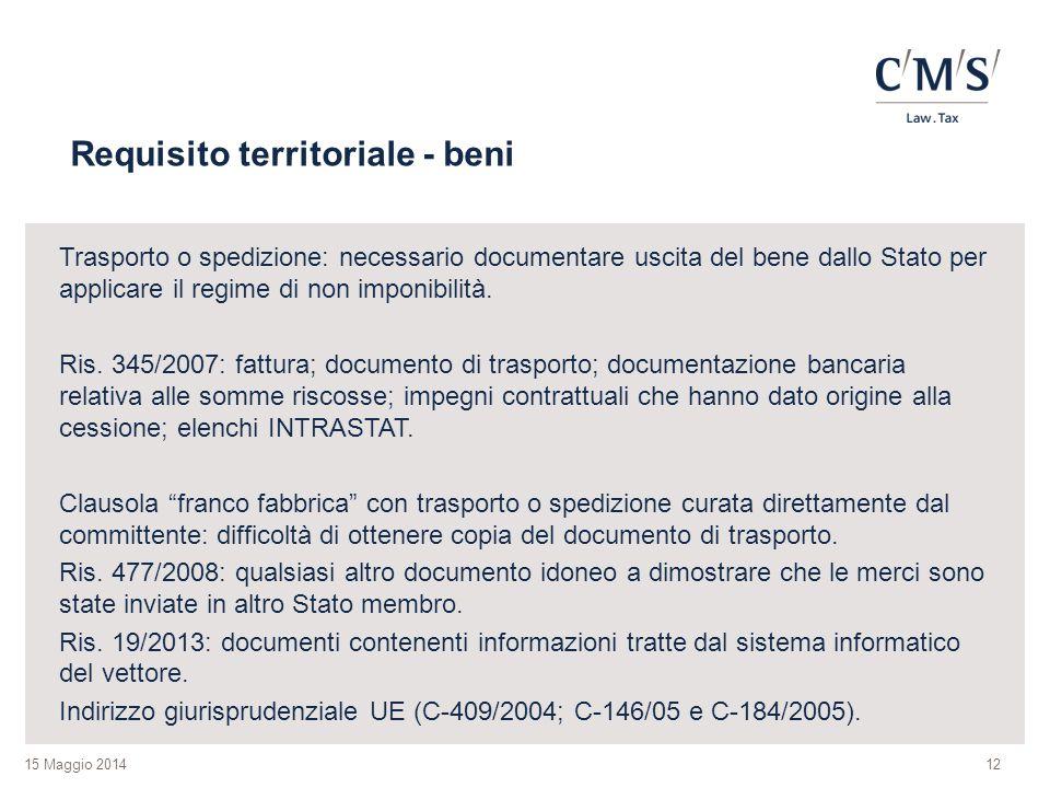 Requisito territoriale - beni