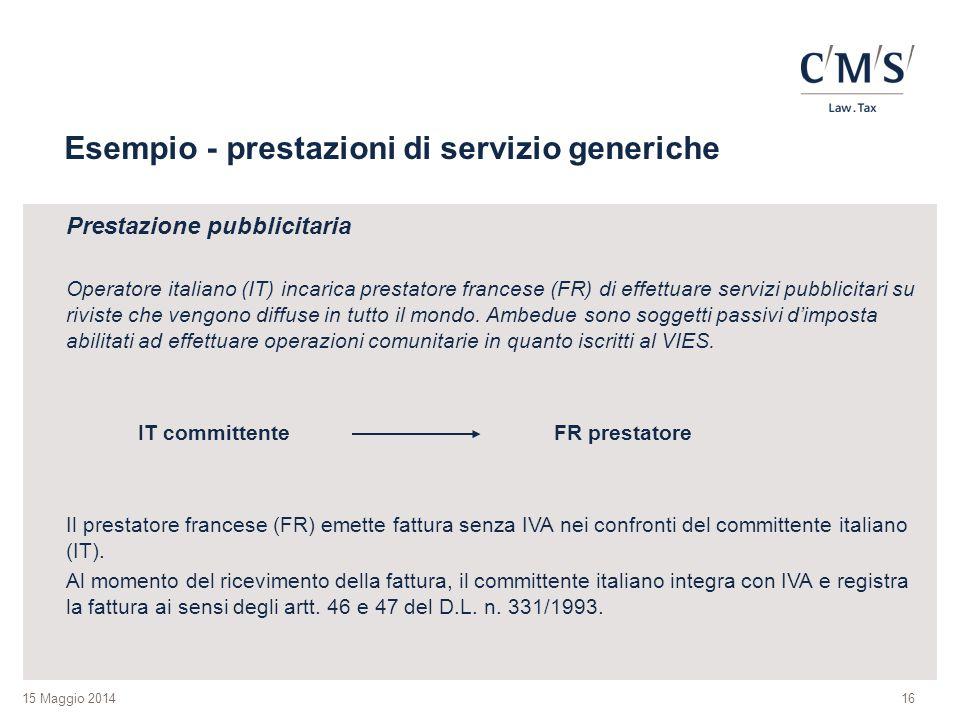 Esempio - prestazioni di servizio generiche