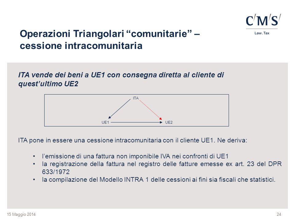 Operazioni Triangolari comunitarie – cessione intracomunitaria