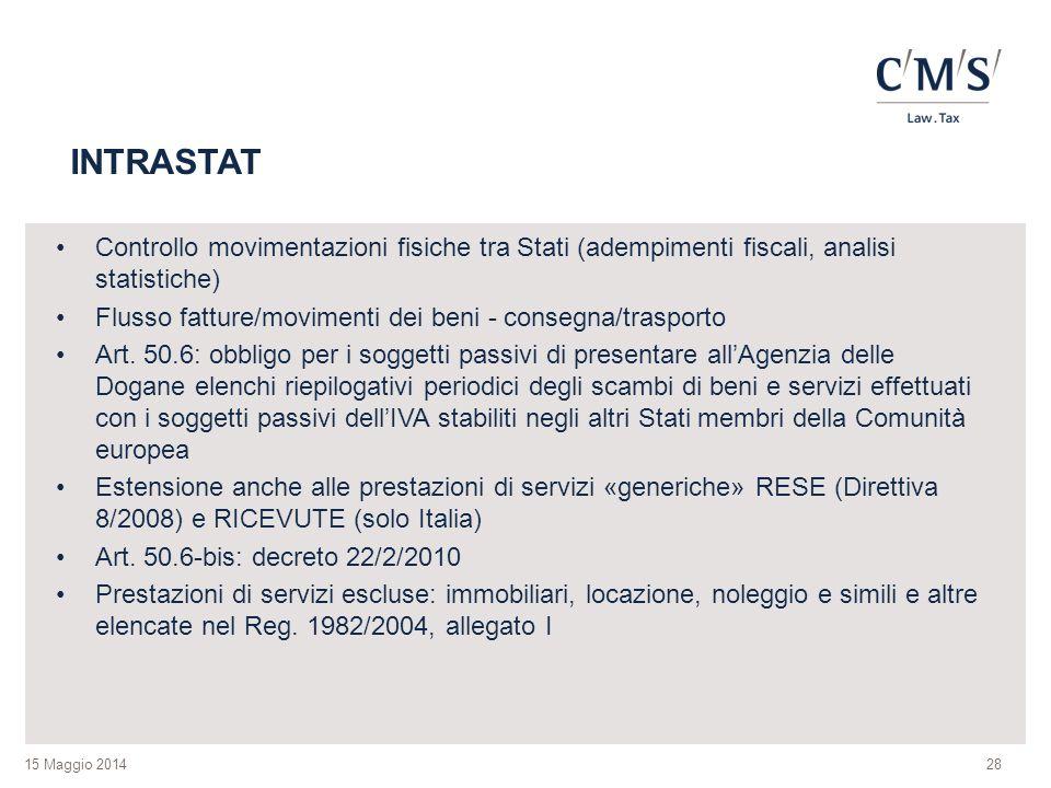INTRASTAT Controllo movimentazioni fisiche tra Stati (adempimenti fiscali, analisi statistiche)