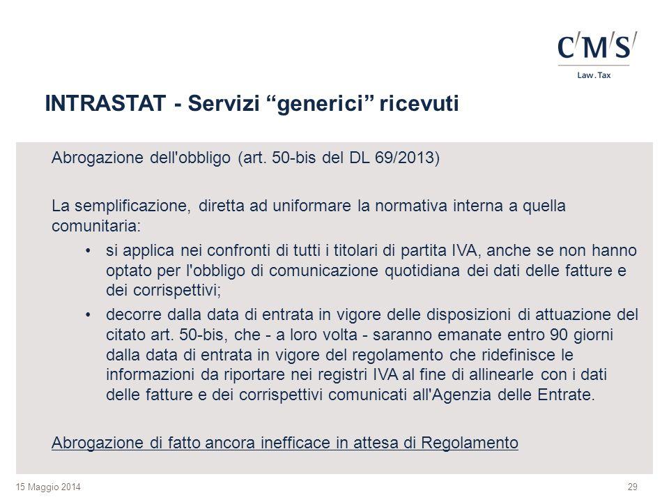 INTRASTAT - Servizi generici ricevuti