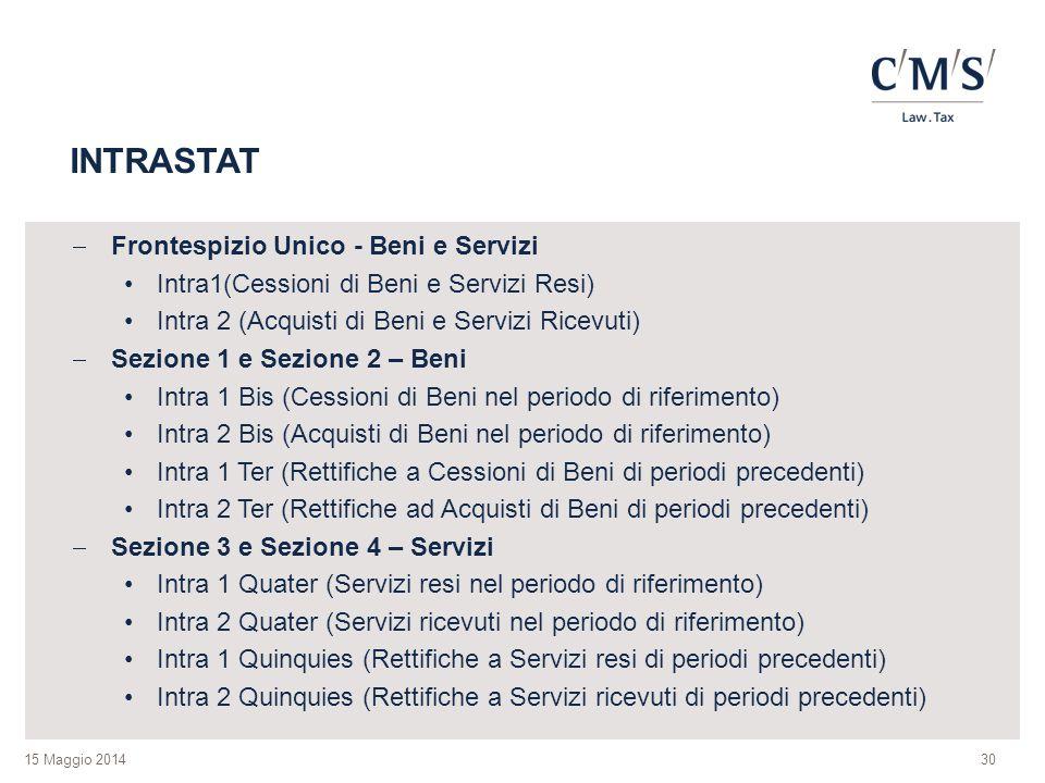 INTRASTAT Frontespizio Unico - Beni e Servizi