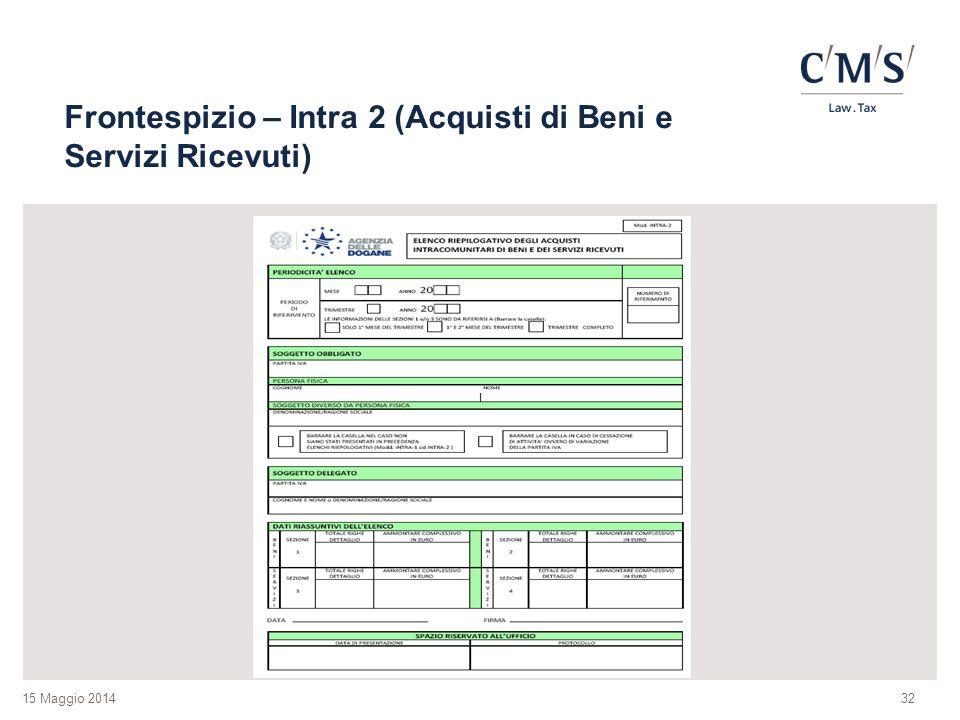 Frontespizio – Intra 2 (Acquisti di Beni e Servizi Ricevuti)