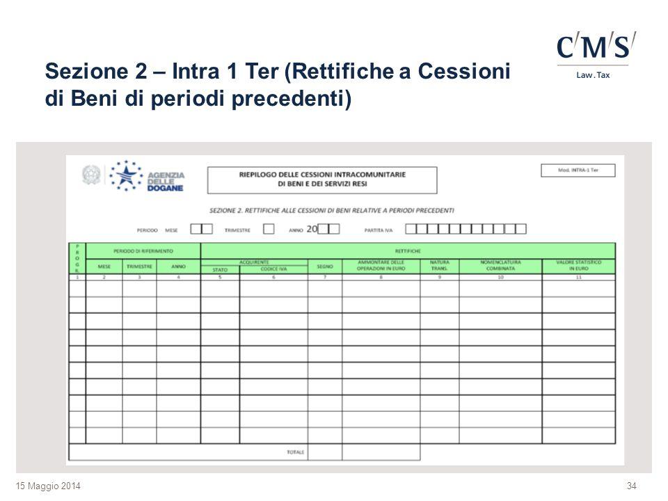 Sezione 2 – Intra 1 Ter (Rettifiche a Cessioni di Beni di periodi precedenti)