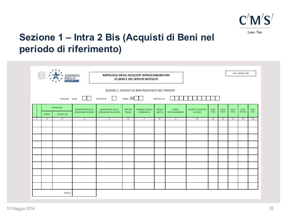 Sezione 1 – Intra 2 Bis (Acquisti di Beni nel periodo di riferimento)