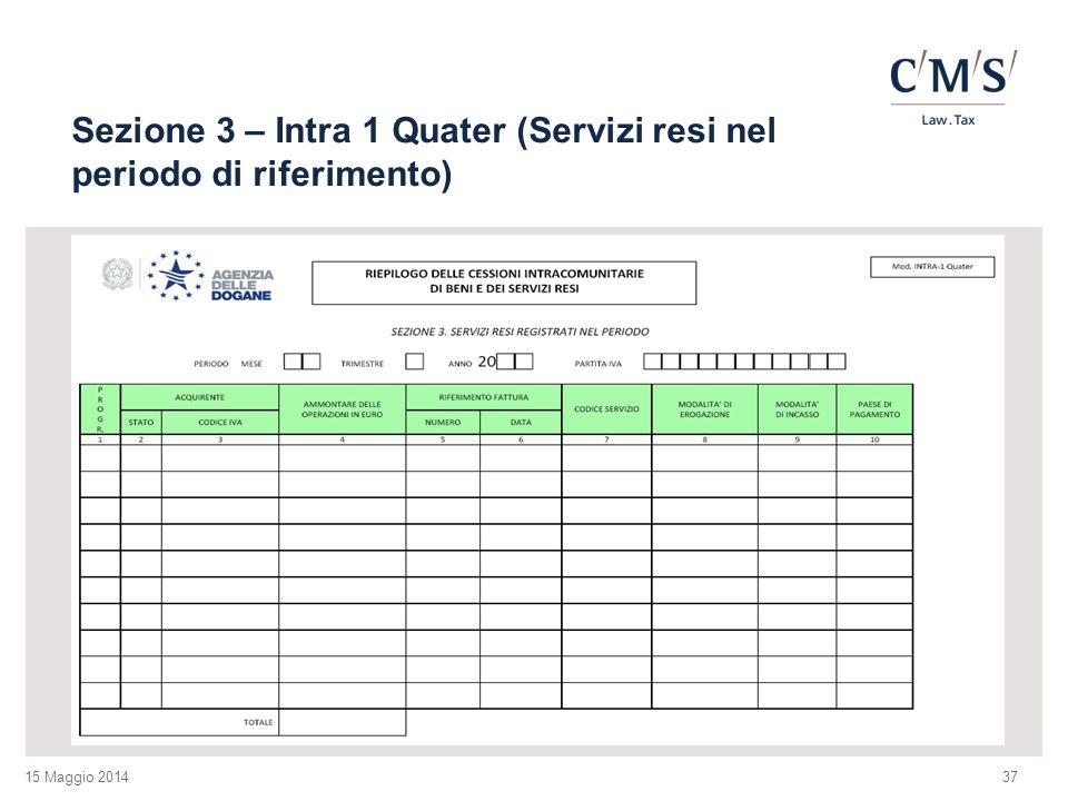 Sezione 3 – Intra 1 Quater (Servizi resi nel periodo di riferimento)