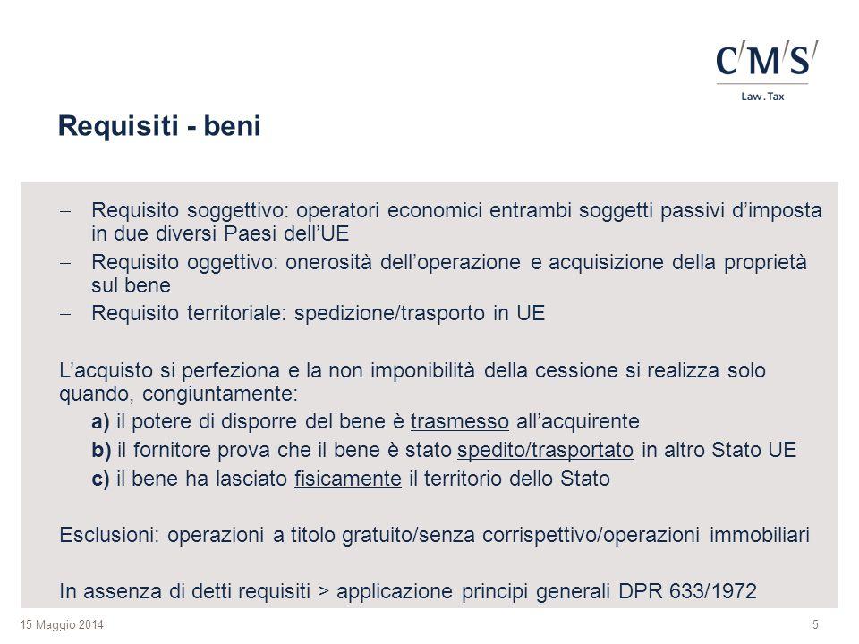 Requisiti - beni Requisito soggettivo: operatori economici entrambi soggetti passivi d'imposta in due diversi Paesi dell'UE.