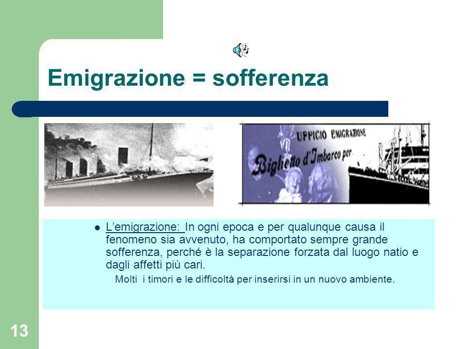 Emigrazione = sofferenza