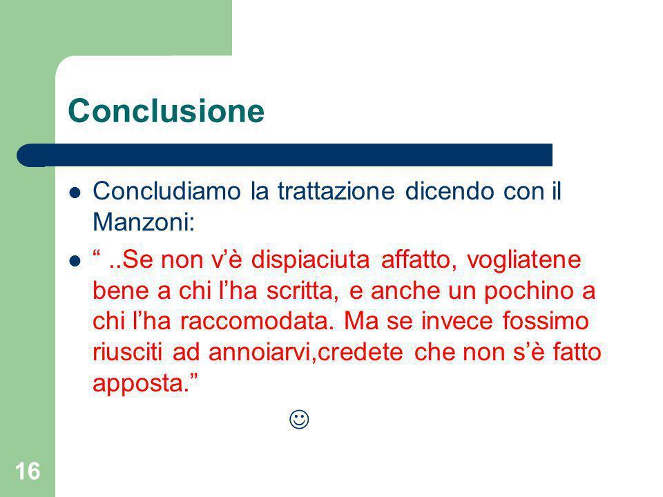 Conclusione Concludiamo la trattazione dicendo con il Manzoni: