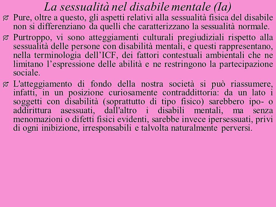 La sessualità nel disabile mentale (Ia)