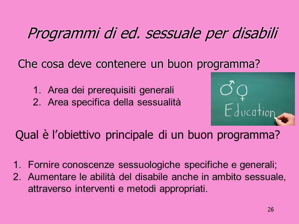 Programmi di ed. sessuale per disabili