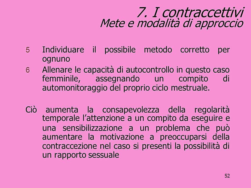 7. I contraccettivi Mete e modalità di approccio
