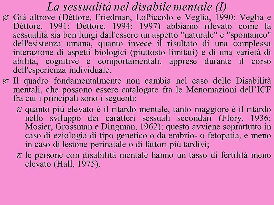 La sessualità nel disabile mentale (I)