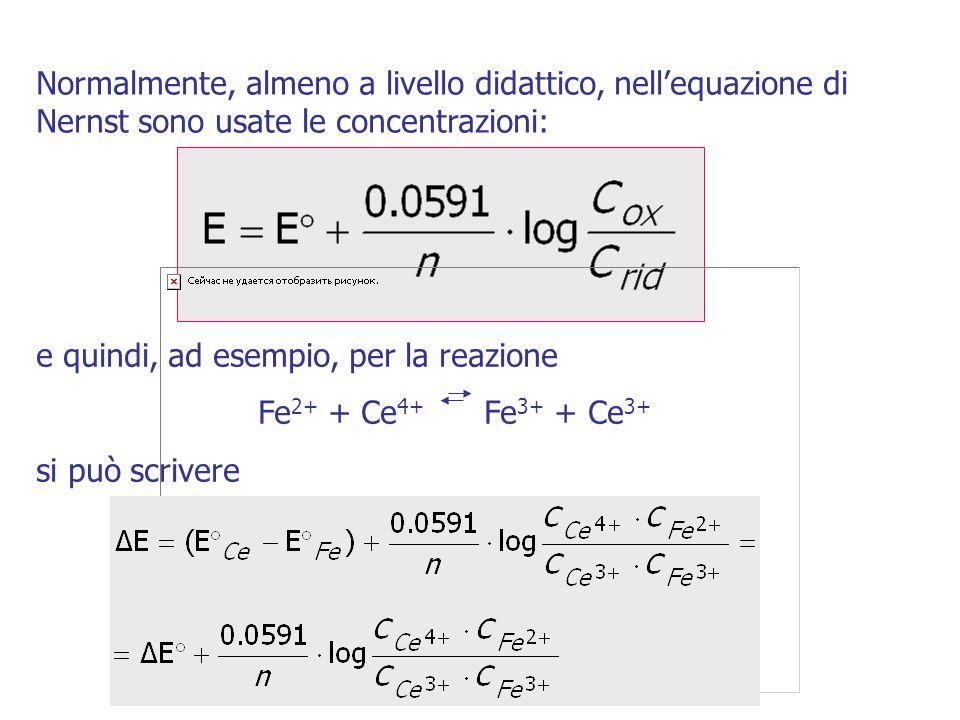 Normalmente, almeno a livello didattico, nell'equazione di Nernst sono usate le concentrazioni: