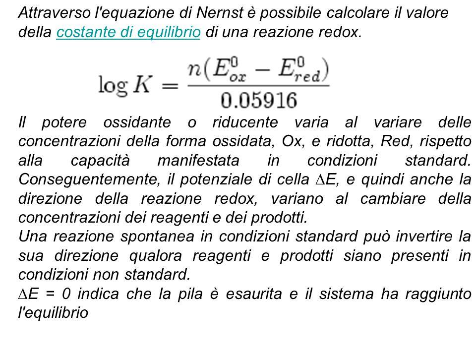 Attraverso l equazione di Nernst è possibile calcolare il valore della costante di equilibrio di una reazione redox.