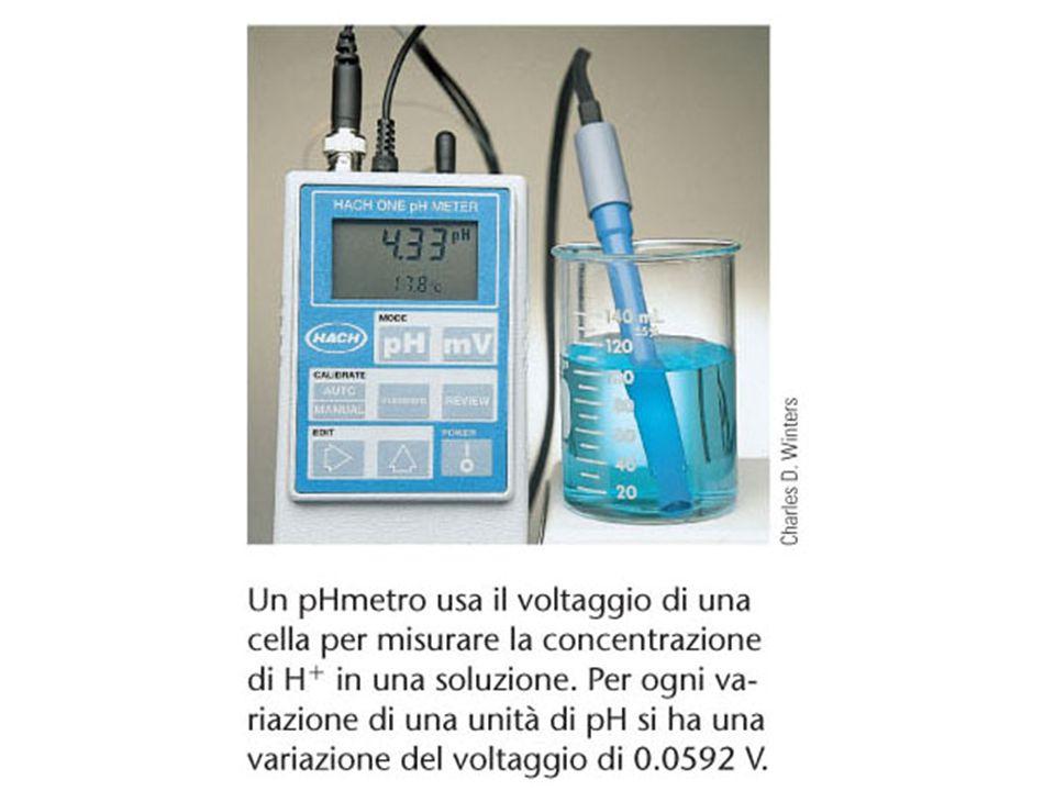 Un pHmetro usa il voltaggio di una cella per misurare la concentrazione di H+ in una soluzione