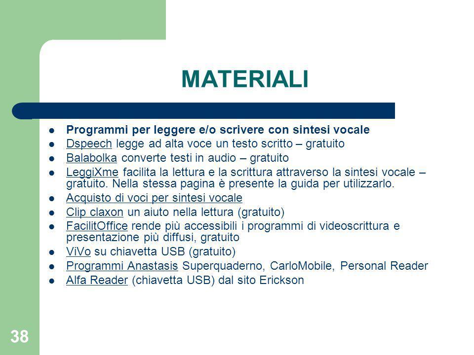MATERIALI Programmi per leggere e/o scrivere con sintesi vocale