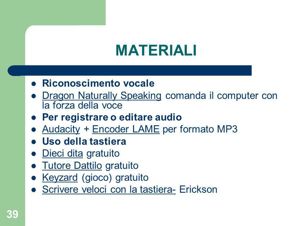 MATERIALI Riconoscimento vocale
