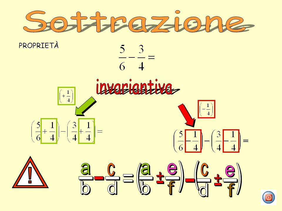 Sottrazione PROPRIETÀ invariantiva ! a b c d - = + e f ( )