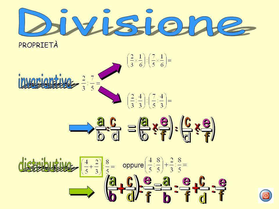 Divisione invariantiva a b c d - : = x e f ( ) distributiva a b c d -