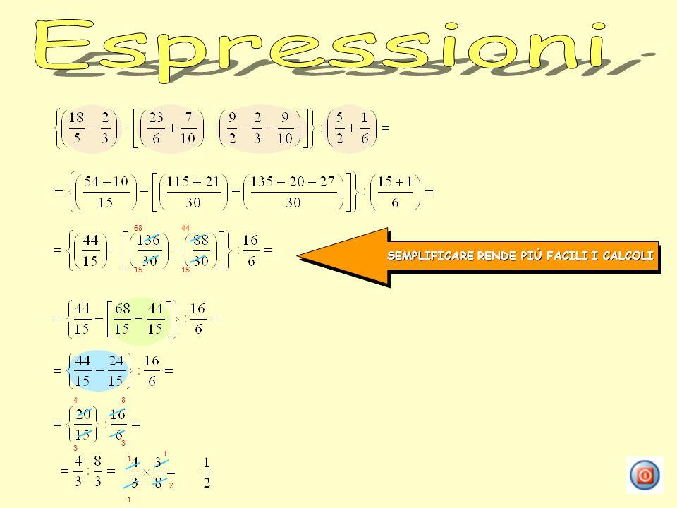Espressioni SEMPLIFICARE RENDE PIÙ FACILI I CALCOLI 68 44 15 15 4 8 3