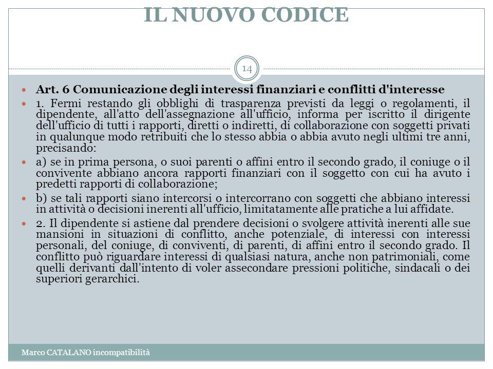 IL NUOVO CODICE Art. 6 Comunicazione degli interessi finanziari e conflitti d interesse.