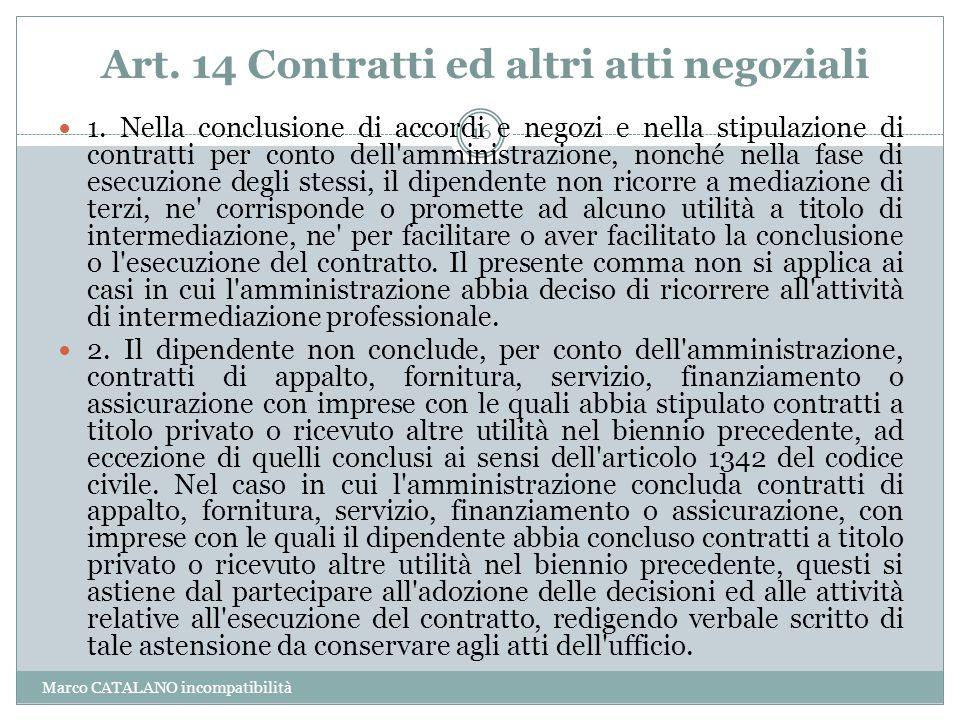 Art. 14 Contratti ed altri atti negoziali